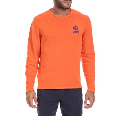 FRANKLIN & MARSHALL-Ανδρικό πουλόβερ FRANKLIN & MARSHALL πορτοκαλί
