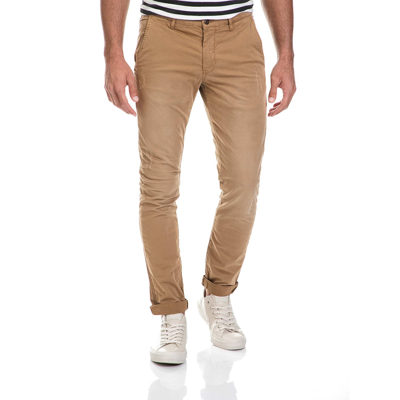 FRANKLIN & MARSHALL - Ανδρικό παντελόνι GABARDINE CHINO FRANKLIN & MARSHALL καφέ ανδρικά ρούχα παντελόνια chinos