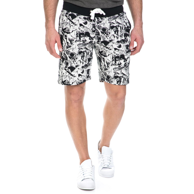 FRANKLIN & MARSHALL - Ανδρική βερμούδα Franklin & Marshall ασπρόμαυρη ανδρικά ρούχα σορτς βερμούδες casual jean