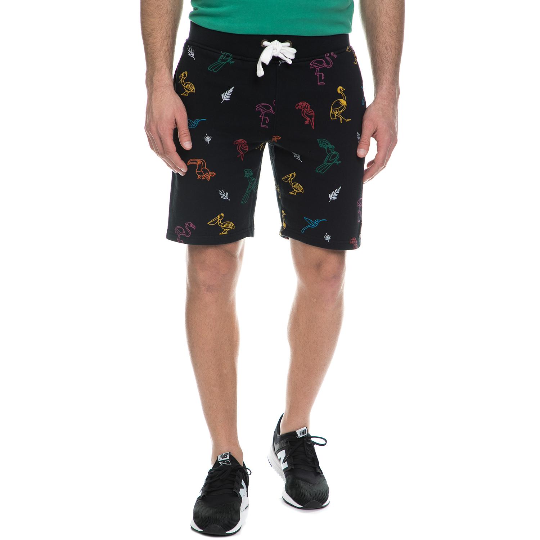 FRANKLIN & MARSHALL - Ανδρική βερμούδα Franklin & Marshall μαύρη με μοτίβο ανδρικά ρούχα σορτς βερμούδες casual jean