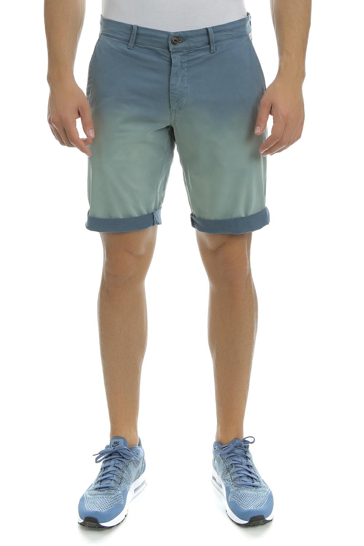 FRANKLIN & MARSHALL - Ανδρική βερμούδα TEXTILE SHORTS GABARDINE μπλε ανδρικά ρούχα σορτς βερμούδες casual jean
