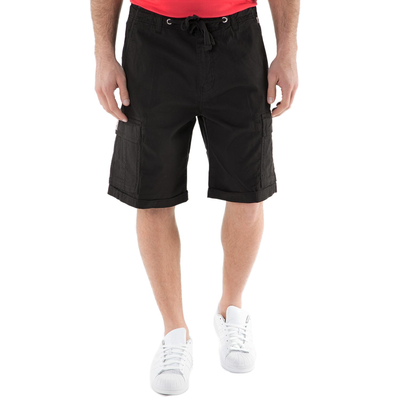 FRANKLIN & MARSHALL - Ανδρική βερμούδα FRANKLIN & MARSHALL μαύρη ανδρικά ρούχα σορτς βερμούδες casual jean
