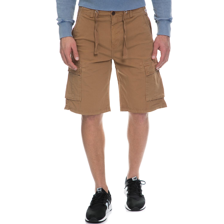 FRANKLIN & MARSHALL - Ανδρική military βερμούδα FRANKLIN & MARSHALL καφέ ανδρικά ρούχα σορτς βερμούδες casual jean