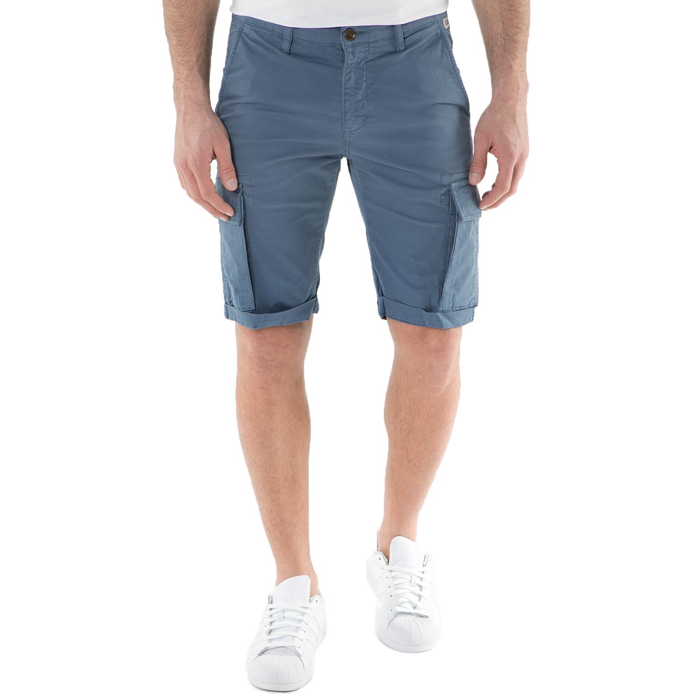 FRANKLIN & MARSHALL - Ανδρική cargo βερμούδα FRANKLIN & MARSHALL μπλε ανδρικά ρούχα σορτς βερμούδες casual jean