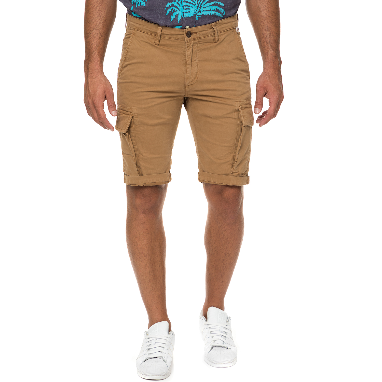 FRANKLIN & MARSHALL - Ανδρική βερμούδα cargo FRANKLIN & MARSHALL μπεζ ανδρικά ρούχα σορτς βερμούδες casual jean