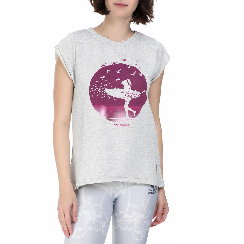 FRANKLIN & MARSHAL - Γυναικεία κοντομάνικη μπλούζα Franklin & Marshall γκρι γυναικεία ρούχα μπλούζες αμάνικες