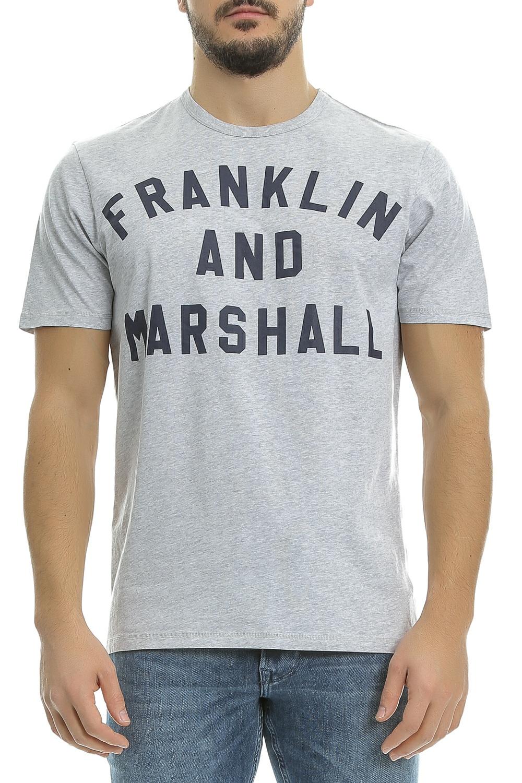 FRANKLIN & MARSHALL - Ανδρική μπλούζα Franklin & Marshall γκρι-μπλε ανδρικά ρούχα μπλούζες κοντομάνικες