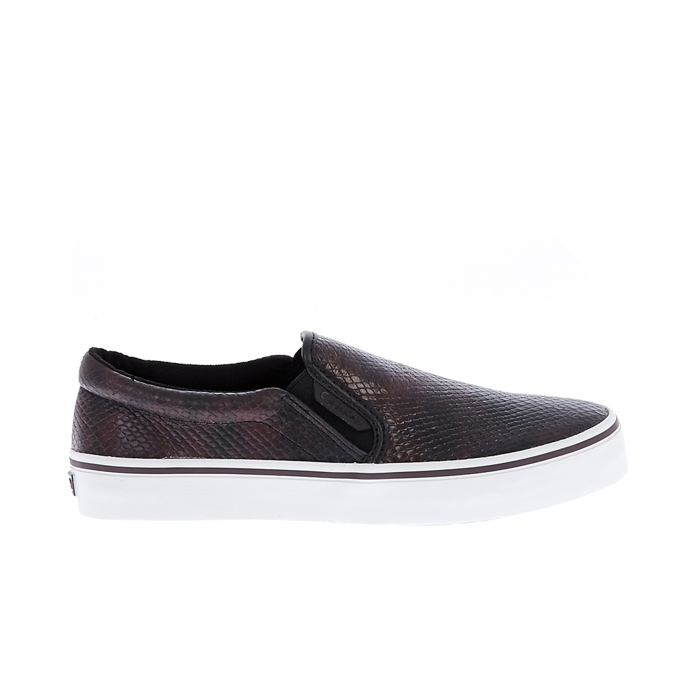 CALVIN KLEIN JEANS – Γυναικεία slip-on παπούτσια CALVIN KLEIN JEANS PRESLEY IRIDE καφέ μεταλλικό