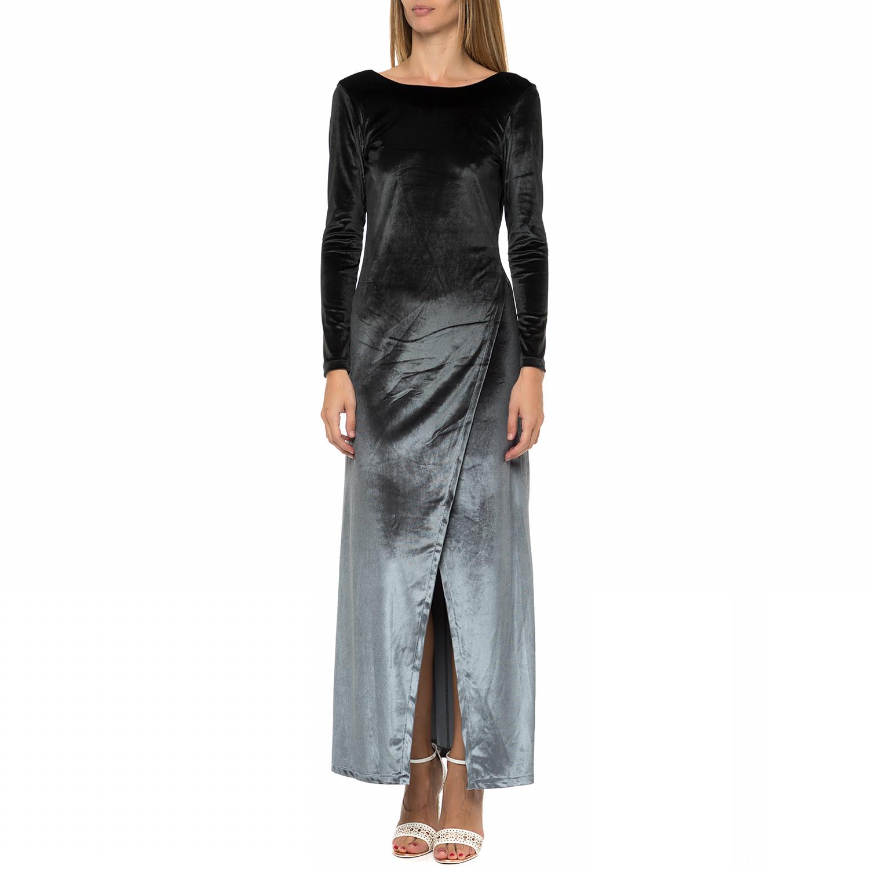 c8bd931fad LA DOLLS - Γυναικείο μάξι βελουτέ φόρεμα LA DOLLS γκρι-μαύρο ...