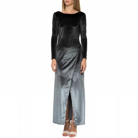 5b362aa2a91c Γυναικείο μάξι βελουτέ φόρεμα LA DOLLS γκρι-μαύρο (1521549.0-g371 ...