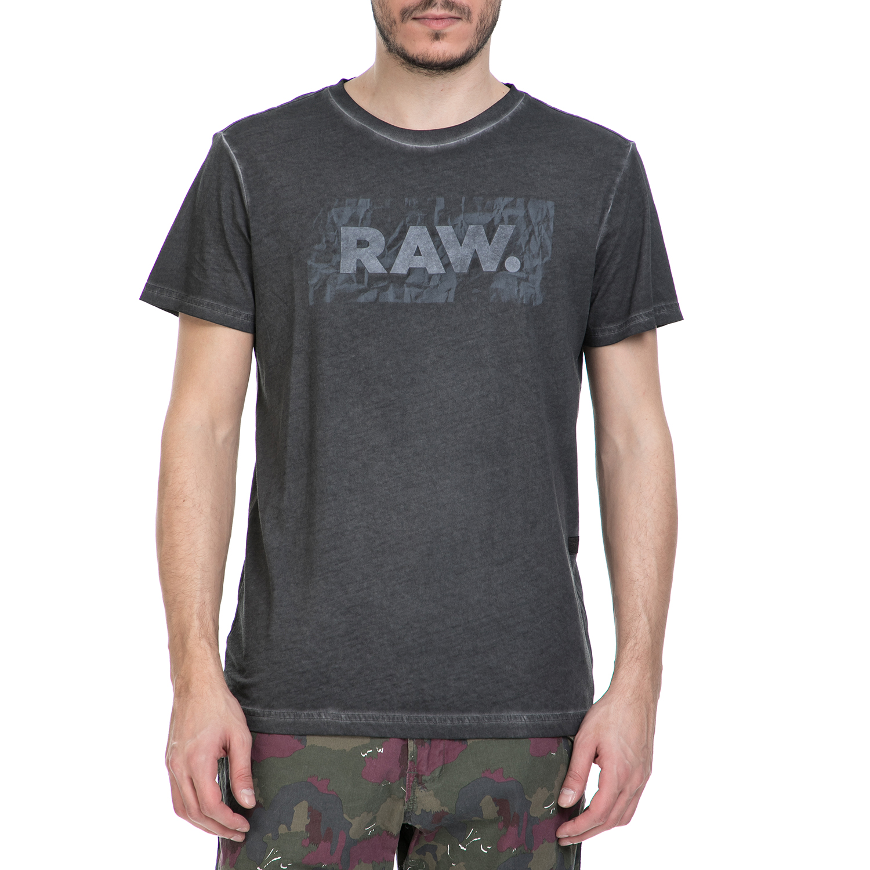 G-STAR RAW - Ανδρική κοντομάνικη μπλούζα G-Star Raw Most ανθρακί ανδρικά ρούχα μπλούζες κοντομάνικες