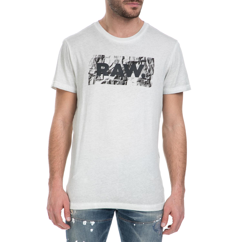 G-STAR RAW - Ανδρική κοντομάνικη μπλούζα G-Star Raw Most λευκή ανδρικά ρούχα μπλούζες κοντομάνικες