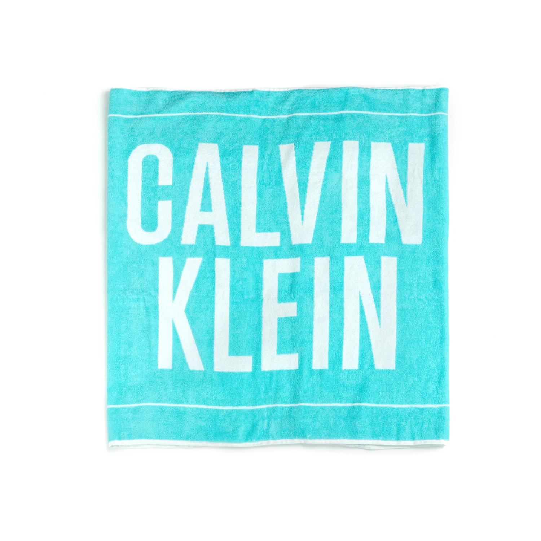 CK UNDERWEAR - Πετσέτα θαλάσσης CALVIN KLEIN μπλε-άσπρη γυναικεία αξεσουάρ εξοπλισμός παραλίας πετσέτες