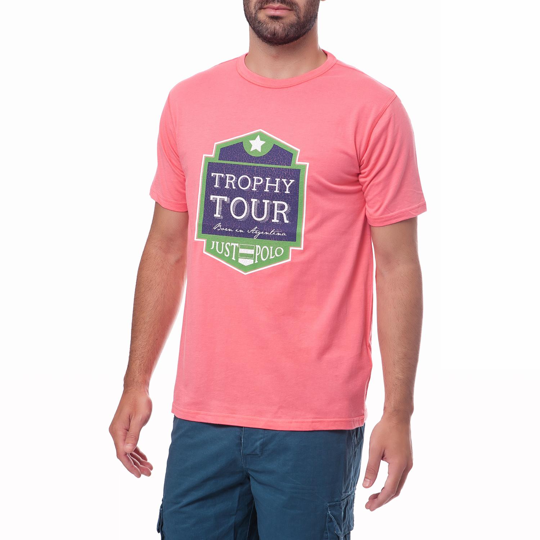 JUST POLO - Ανδρική μπλούζα Just Polo ροζ 40bbfecc27d