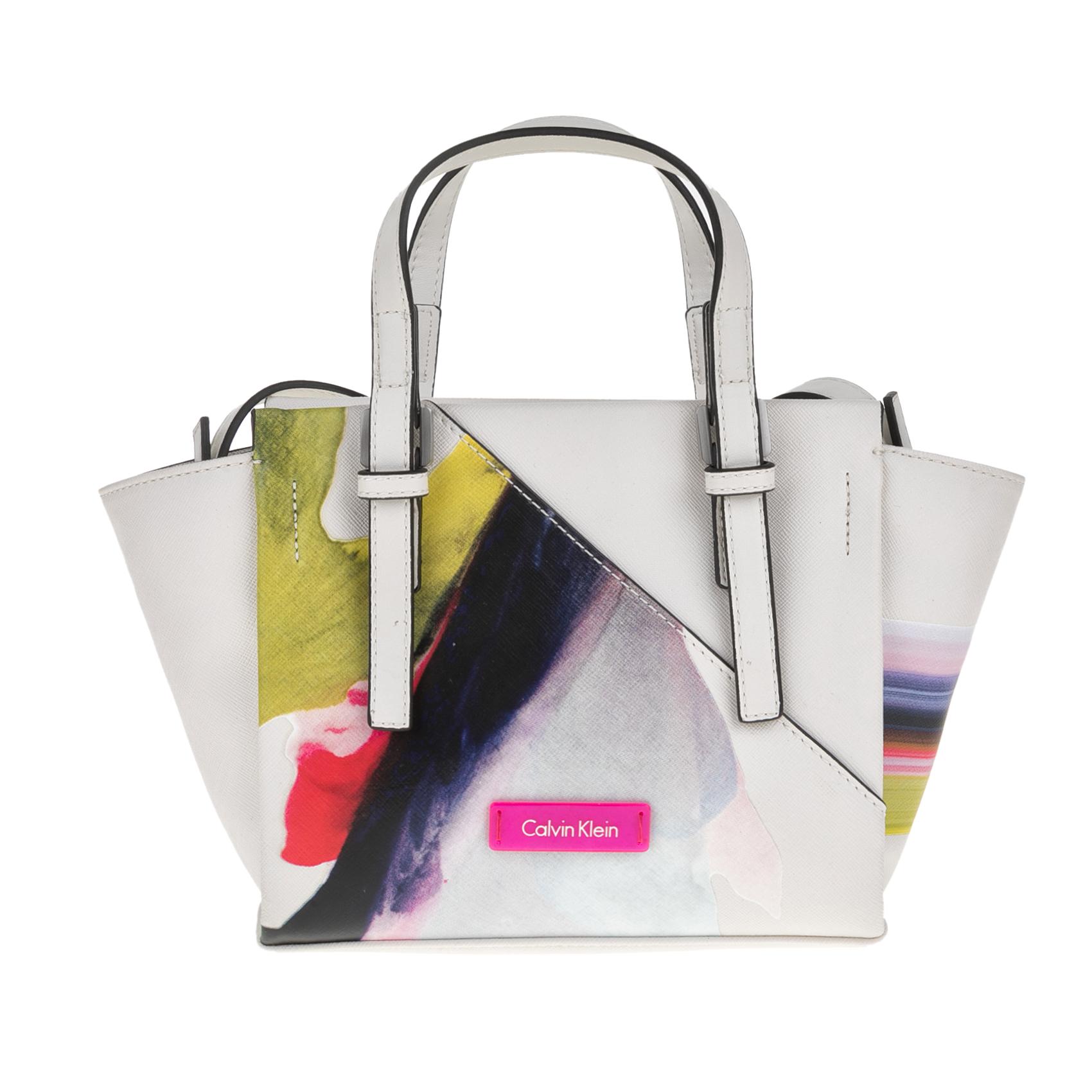 CALVIN KLEIN JEANS – Γυναικεία τσάντα CALVIN KLEIN JEANS M4RISSA PRINT MINI λευκή με μοτίβο