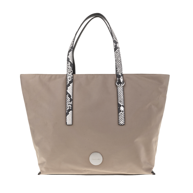 f5960f7d2a CALVIN KLEIN JEANS - Γυναικεία τσάντα χειρός EDITH LARGE TOTE μπεζ με print
