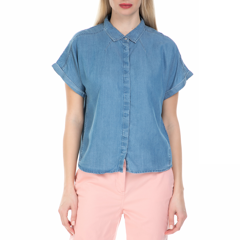 CALVIN KLEIN JEANS - Γυναικείο τζιν πουκάμισο με κρυφά κουμπιά Calvin Klein Jean γυναικεία ρούχα πουκάμισα κοντομάνικα αμάνικα