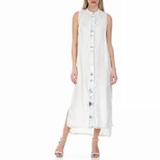 CALVIN KLEIN JEANS-Γυναικείο αμάνικο μάξι φόρεμα Calvin Klein Jeans λευκό