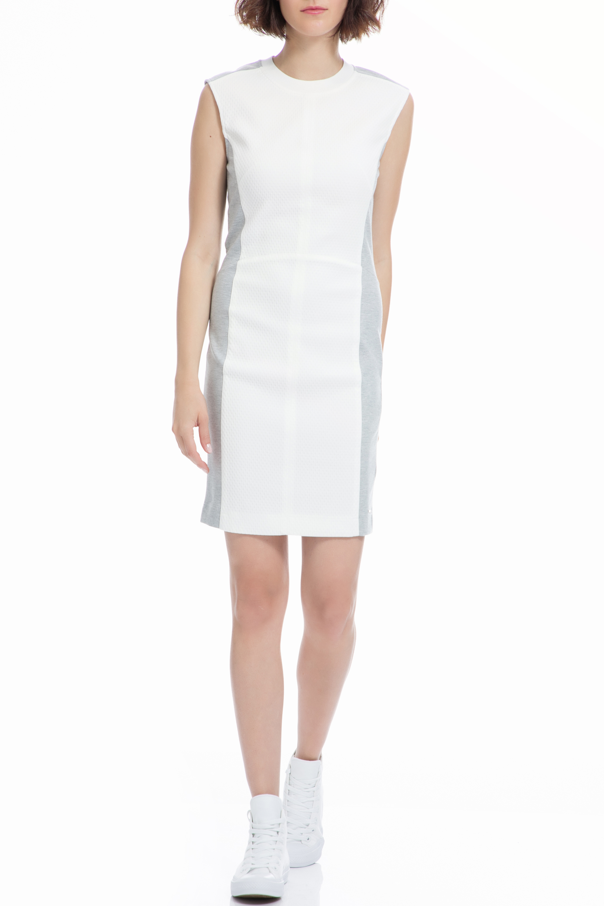 CALVIN KLEIN JEANS - Γυναικείο φόρεμα CALVIN KLEIN JEANS λευκό γυναικεία ρούχα φορέματα μίνι