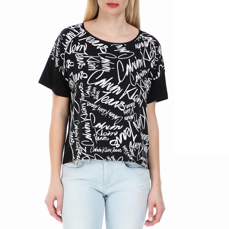 9b162c1d3f32 CALVIN KLEIN JEANS. Γυναικεία cropped μπλούζα Calvin Klein Jeans μαύρη ...