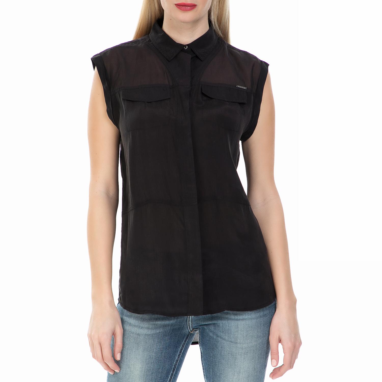 CALVIN KLEIN JEANS - Γυναικείο αμάνικο πουκάμισο Calvin Klein Jeans μαύρο