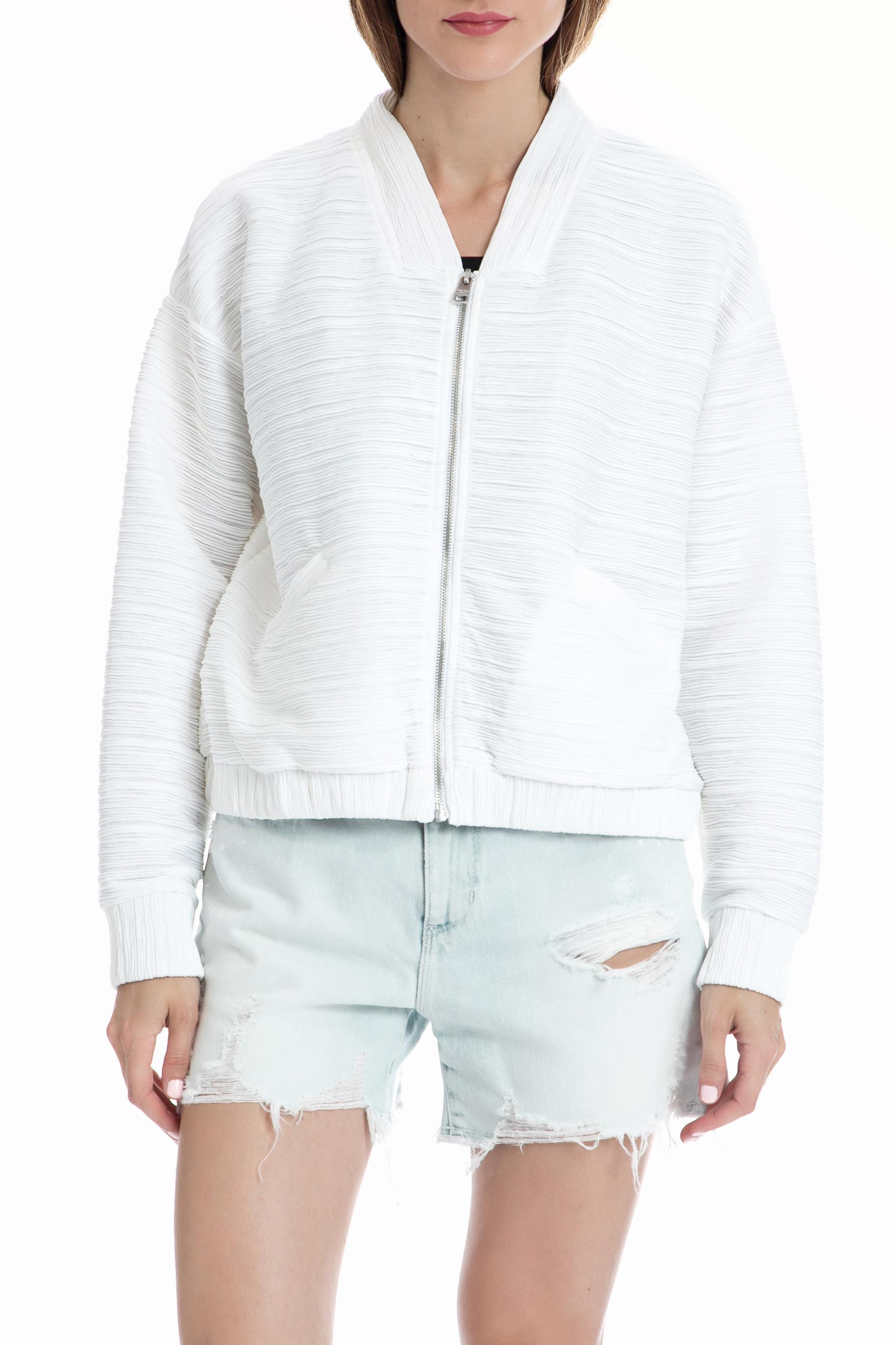 CALVIN KLEIN JEANS - Γυναικείο μπουφάν CALVIN KLEIN JEANS λευκό γυναικεία ρούχα πανωφόρια μπουφάν