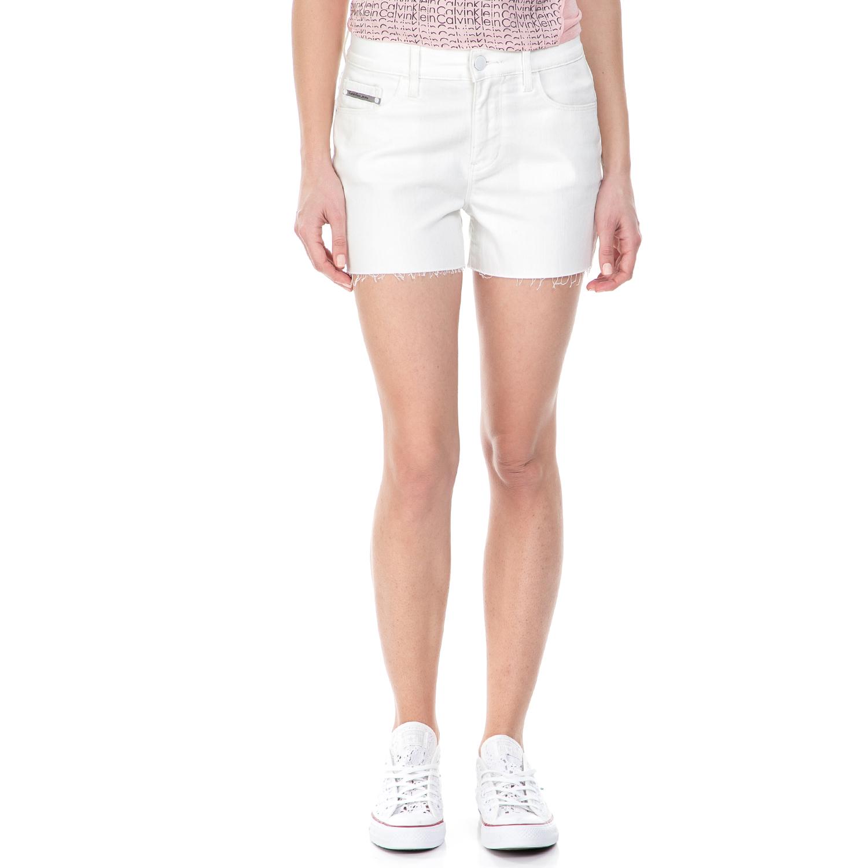 CALVIN KLEIN JEANS - Γυναικείο τζιν σορτς Calvin Klein Jeans λευκό γυναικεία ρούχα σορτς βερμούδες casual jean
