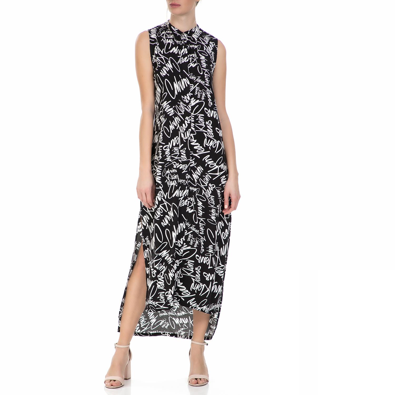 ffdd377dbe6d CALVIN KLEIN JEANS – Γυναικείο αμάνικο μάξι φόρεμα Calvin Klein Jeans μαύρο  – λευκό