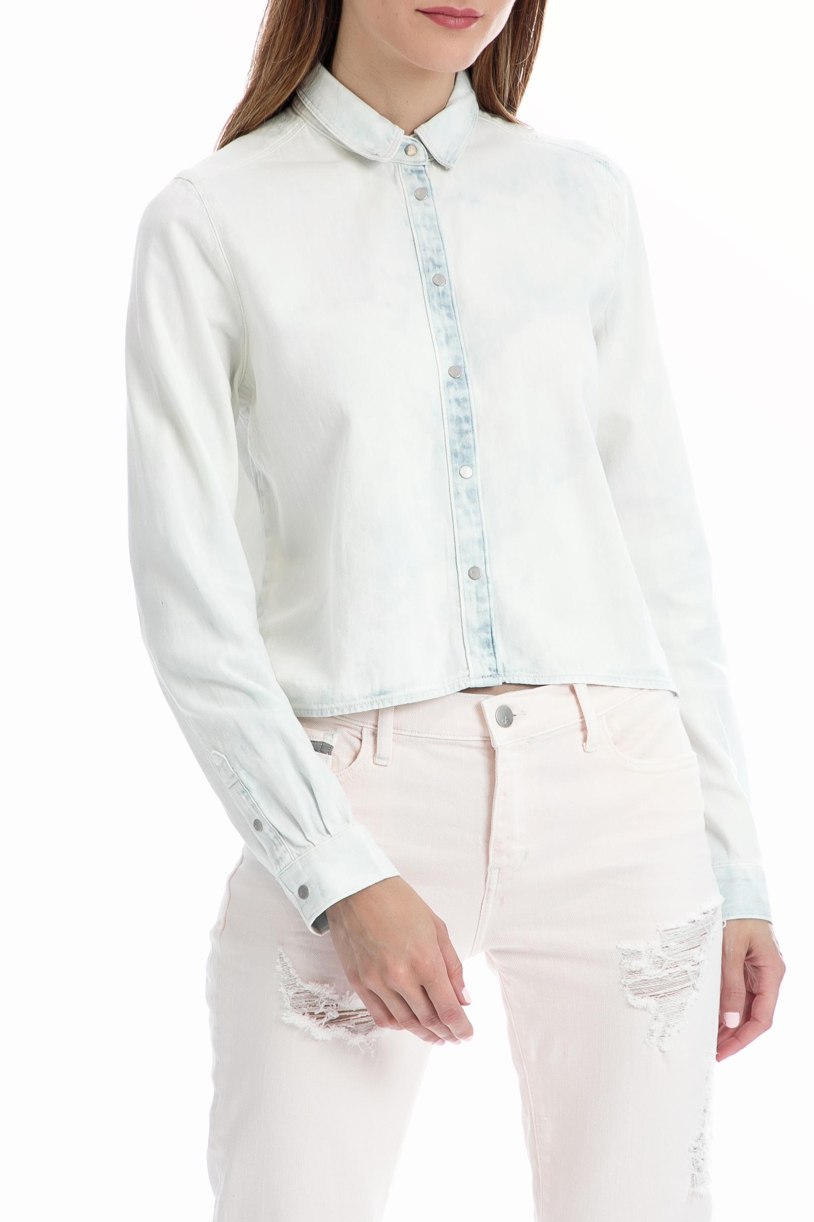 CALVIN KLEIN JEANS - Γυναικείο πουκάμισο CALVIN KLEIN JEANS λευκό γυναικεία ρούχα πουκάμισα μακρυμάνικα