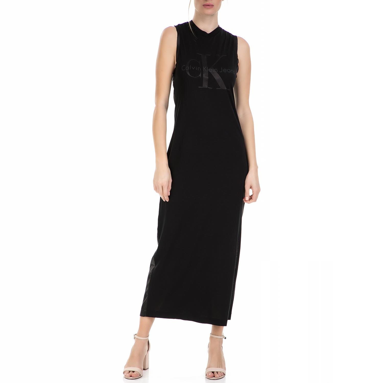 CALVIN KLEIN JEANS - Γυναικείο μάξι αμάνικο φόρεμα Calvin Klein Jeans μαύρο γυναικεία ρούχα φορέματα μάξι
