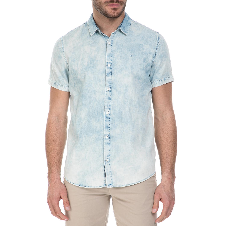 CALVIN KLEIN JEANS - Ανδρικό κοντομάνικο τζιν πουκάμισο Calvin Klein Jeans γαλάζ ανδρικά ρούχα πουκάμισα κοντομάνικα αμάνικα