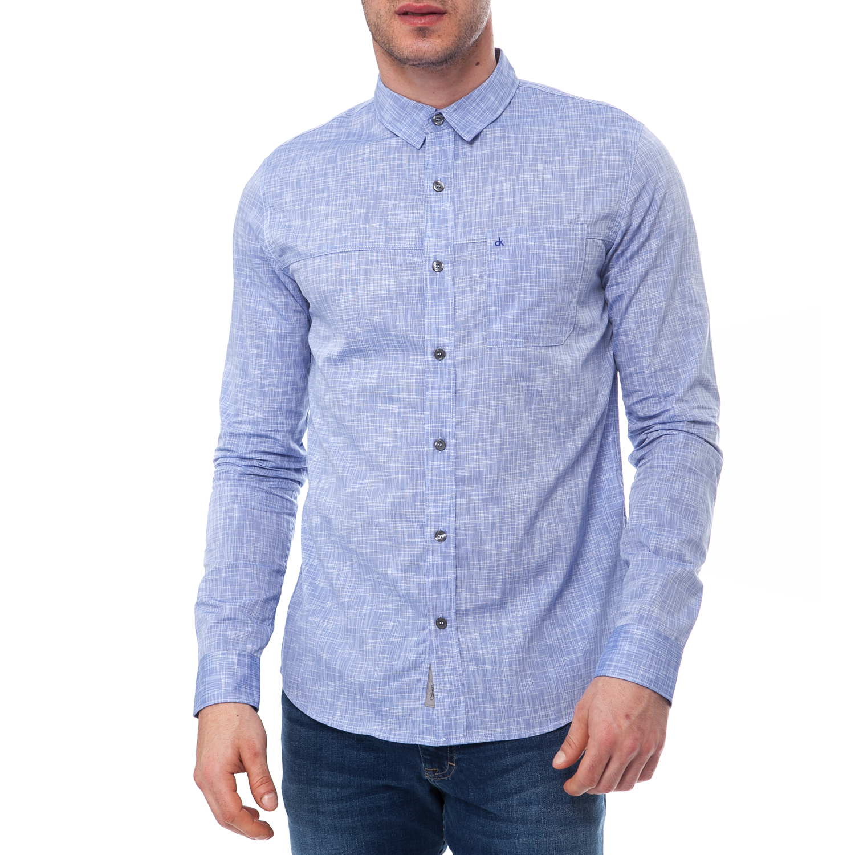 CALVIN KLEIN JEANS - Ανδρικό πουκάμισο Calvin Klein Jeans μπλε ad528b2cd2f