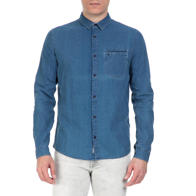 CALVIN KLEIN JEANS - Ανδρικό μακρυμάνικο πουά πουκάμισο Calvin Klein Jeans μπλε ανδρικά ρούχα πουκάμισα μακρυμάνικα