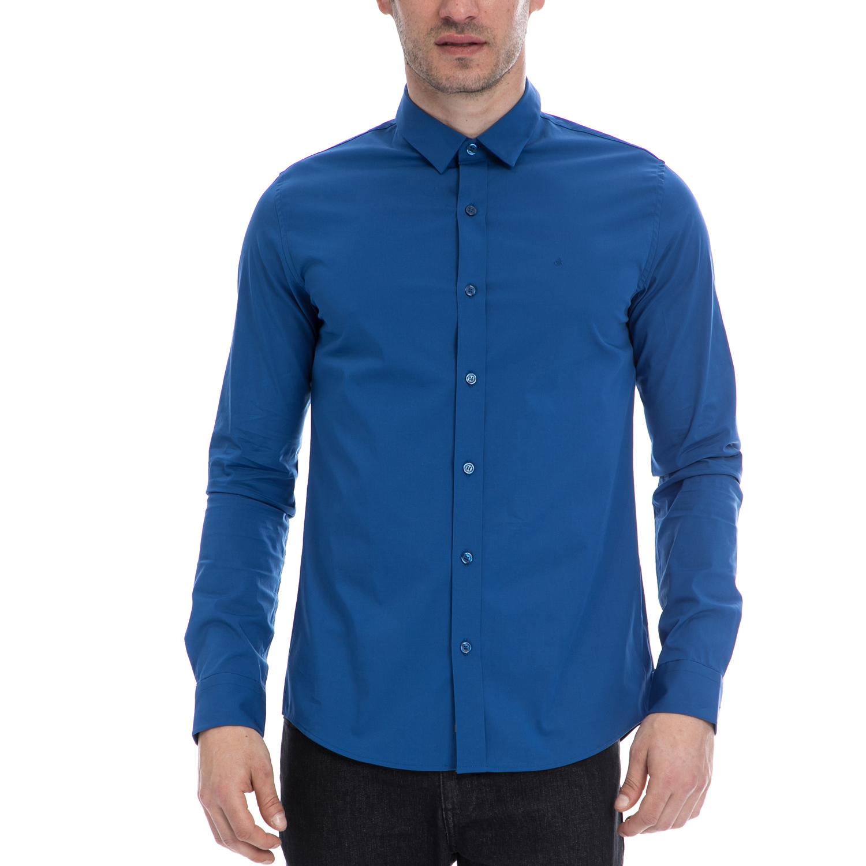 CALVIN KLEIN JEANS - Ανδρικό πουκάμισο CALVIN KLEIN JEANS μπλε ανδρικά ρούχα πουκάμισα μακρυμάνικα