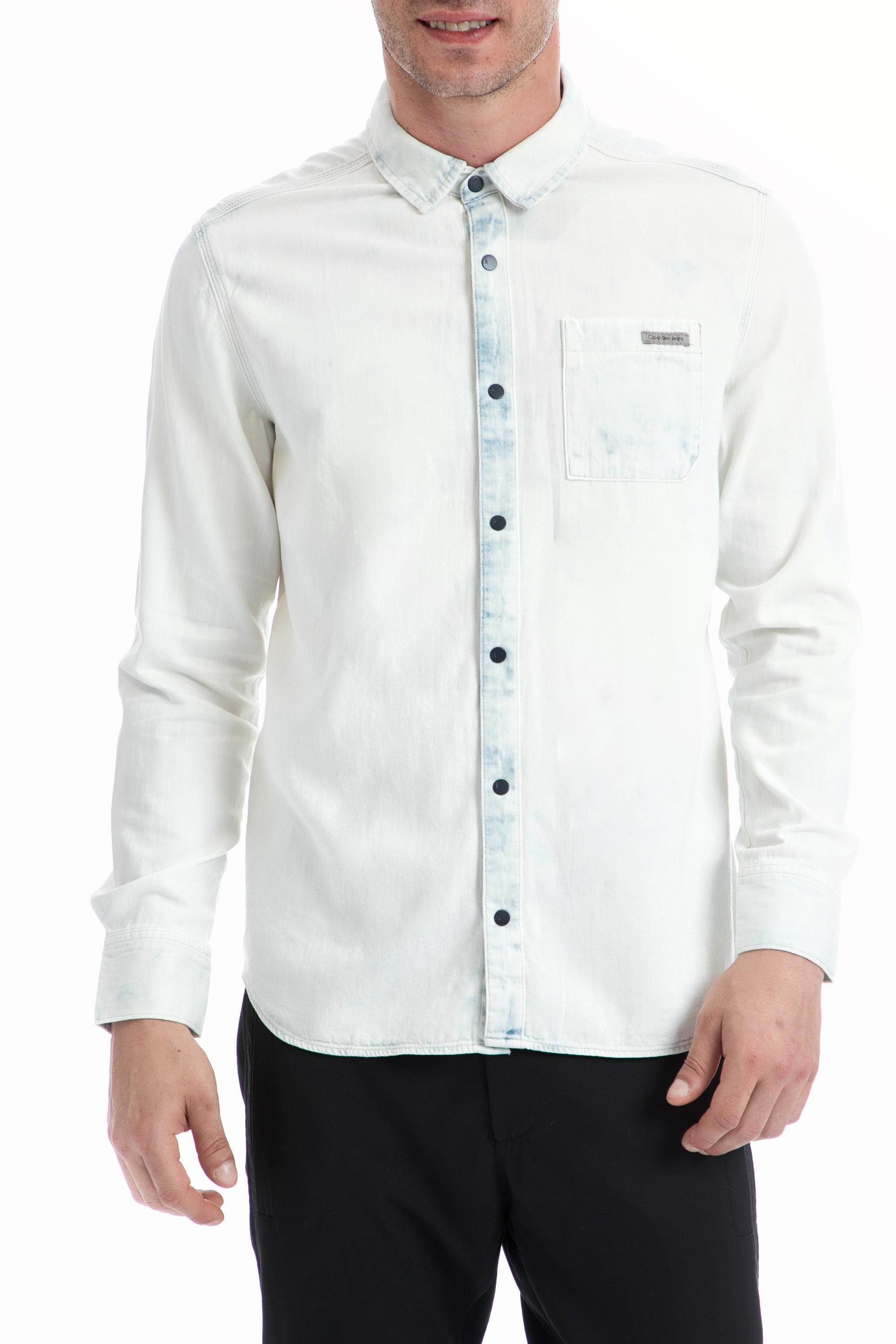 CALVIN KLEIN JEANS - Ανδρικό πουκάμισο CALVIN KLEIN JEANS λευκό ανδρικά ρούχα πουκάμισα μακρυμάνικα