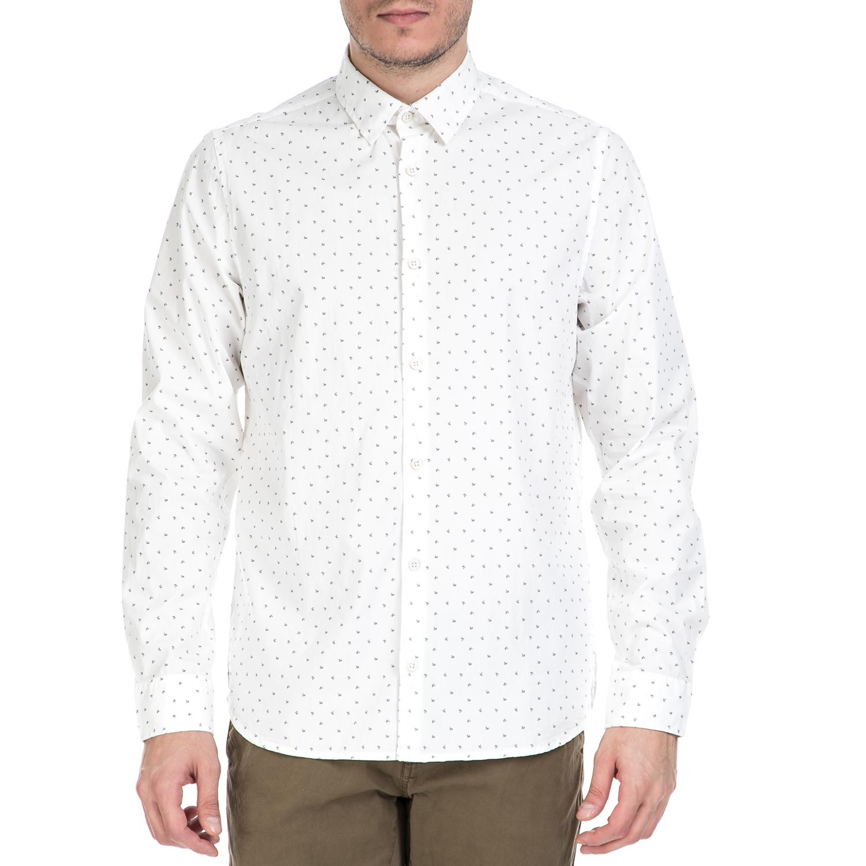GARCIA JEANS - Ανδρικό πουκάμισο GARCIA JEANS λευκό μοτίβο ανδρικά ρούχα πουκάμισα μακρυμάνικα