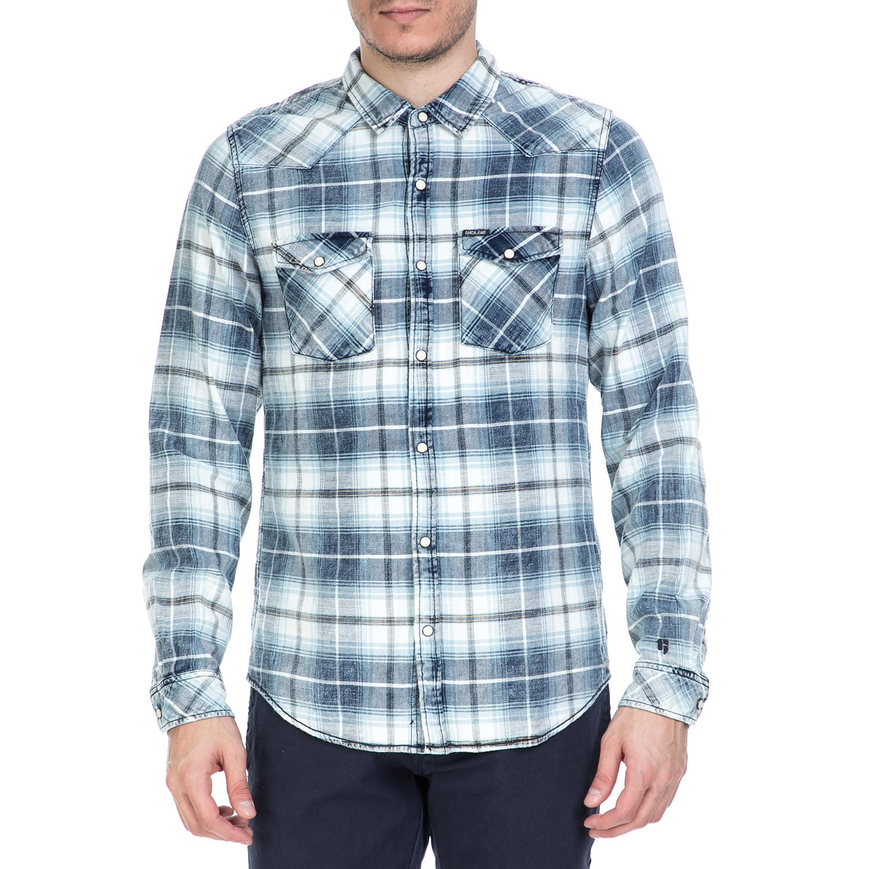 GARCIA JEANS - Ανδρικό πουκάμισο GARCIA JEANS μπλε καρό ανδρικά ρούχα πουκάμισα μακρυμάνικα
