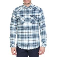GARCIA JEANS-Ανδρικό πουκάμισο GARCIA JEANS μπλε καρό