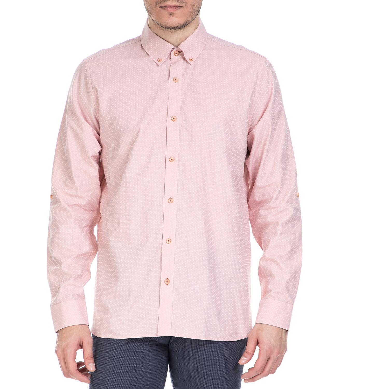 TED BAKER - Ανδρικό μακρυμάνικο πουκάμισο Ted Baker ροζ με print ανδρικά ρούχα πουκάμισα μακρυμάνικα