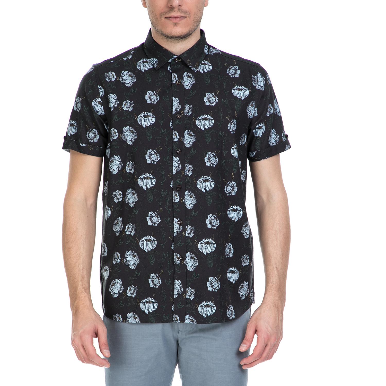 TED BAKER - Ανδρικό κοντομάνικο πουκάμισο Ted Baker μαύρο με print ανδρικά ρούχα πουκάμισα κοντομάνικα αμάνικα