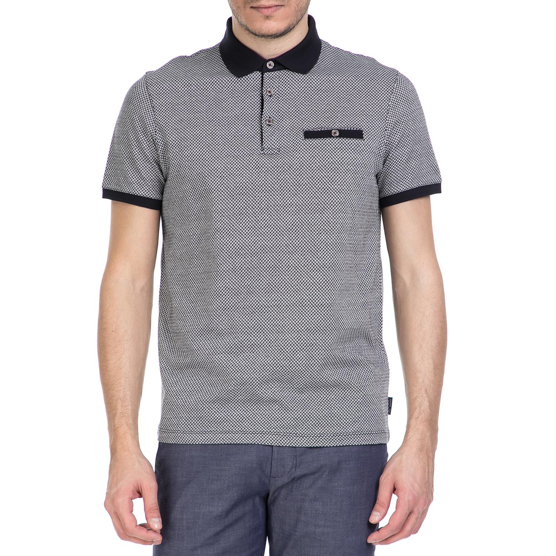 fe5c191dba0c TED BAKER - Ανδρική κοντομάνικη polo μπλούζα Ted Baker λευκή - μαύρη