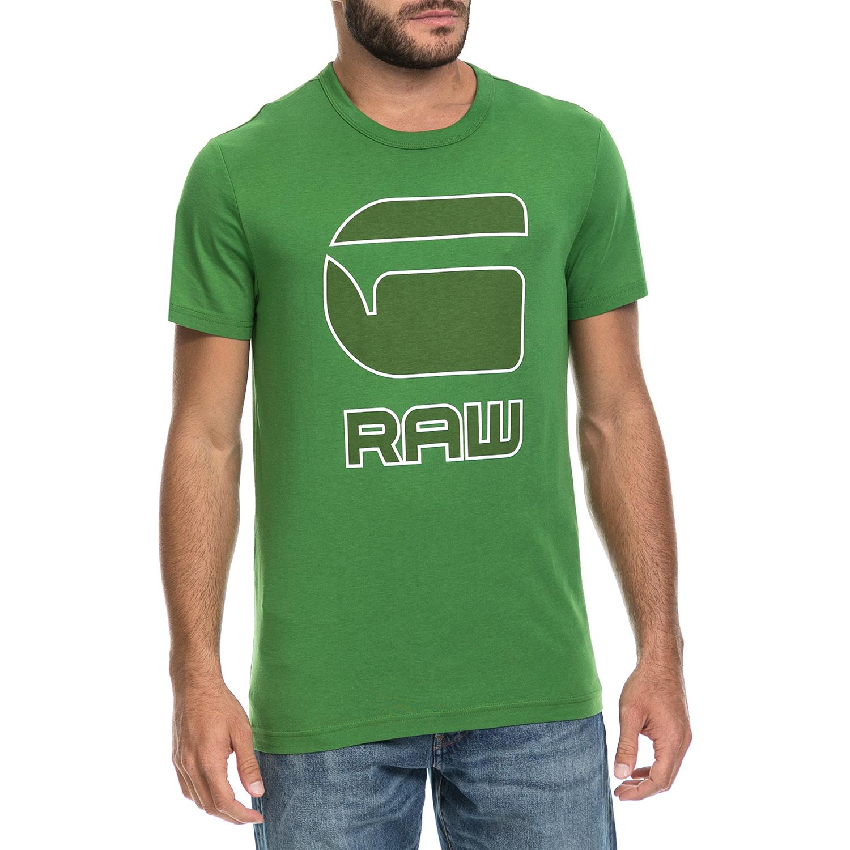 G-STAR - Ανδρική μπλούζα CADULOR G-STAR RAW πράσινη ανδρικά ρούχα μπλούζες κοντομάνικες