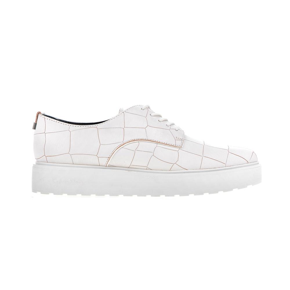 CALVIN KLEIN JEANS - Γυναικεία παπούτσια CALVIN KLEIN JEANS VICTORINA λευκά γυναικεία παπούτσια μοκασίνια μπαλαρίνες μοκασίνια