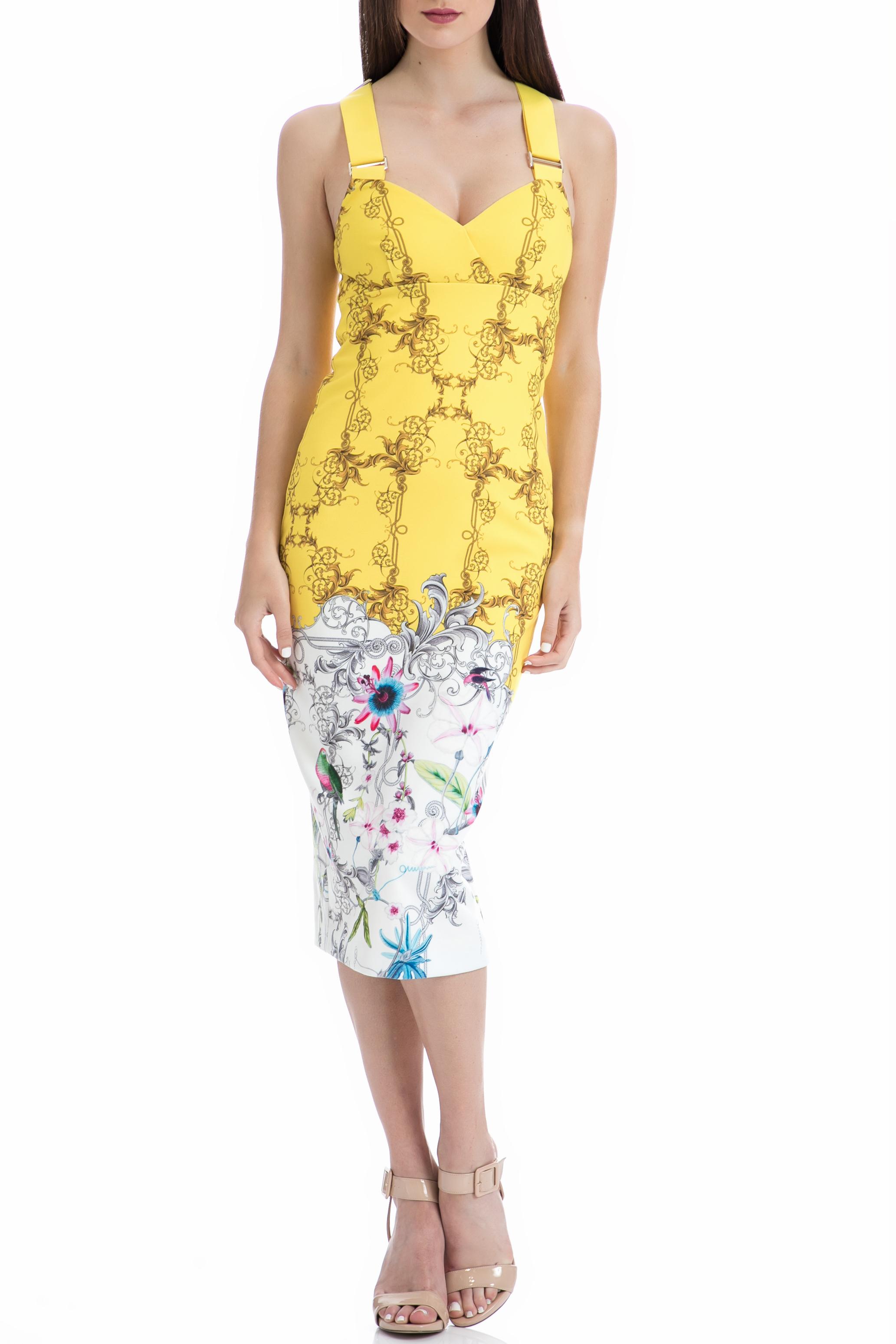 TED BAKER - Γυναικείο φόρεμα Ted Baker κίτρινο-λευκό γυναικεία ρούχα φορέματα μέχρι το γόνατο