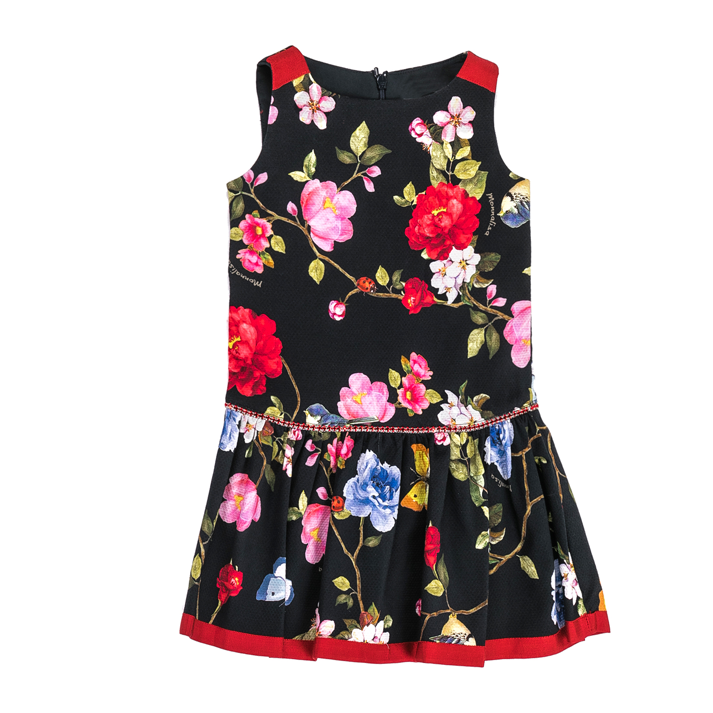 MONNALISA – Φόρεμα MONNALISA μαύρο με φλοράλ μοτίβο