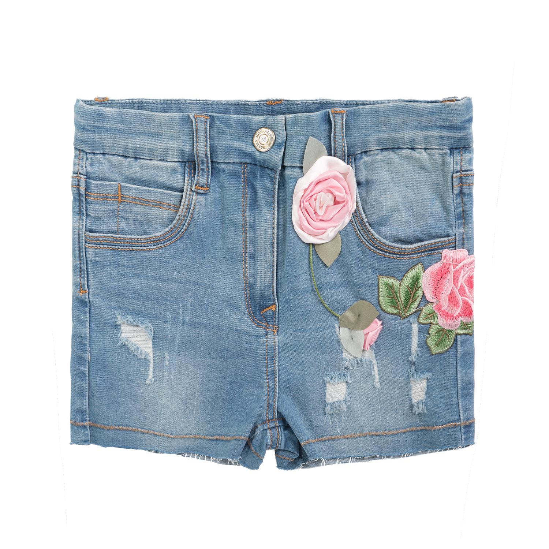 MONNALISA – Κοριτσίστικη τζιν βερμούδα MONNALISA μπλε με λουλούδια