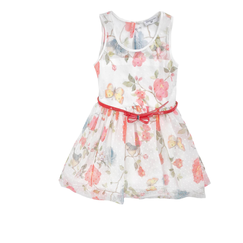 MONNALISA – Πλισέ φόρεμα MONNALISA λευκό με φλοράλ μοτίβο