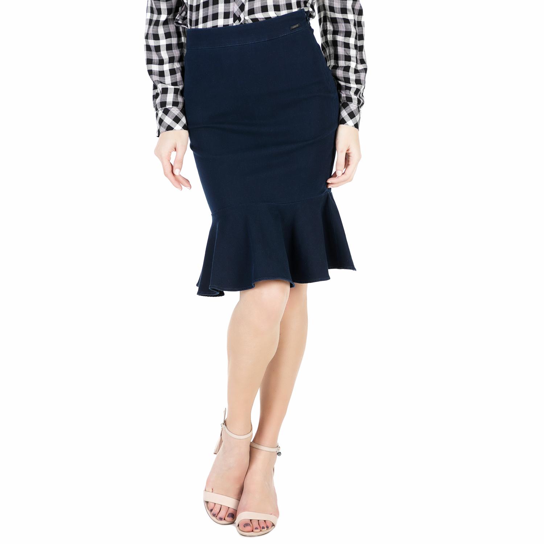 GUESS – Γυναικεία midi φούστα με βολάν Guess RUFFLE σκούρη μπλε