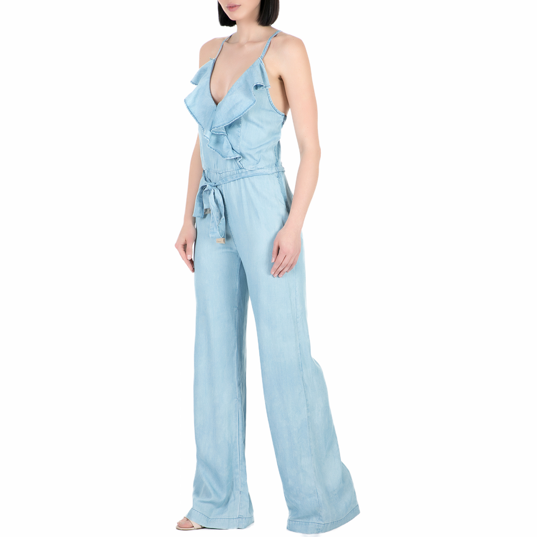 1eedfd291378 GUESS - Γυναικεία ολόσωμη φόρμα με βολάν Guess ANITA ELEVATED γαλάζια