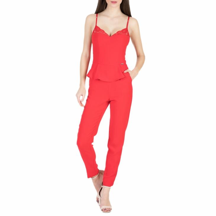 GUESS. Γυναικεία ολόσωμη φόρμα με βολάν Guess MARGIT DOWNTOWN CREPE κόκκινη cd4fffb0825